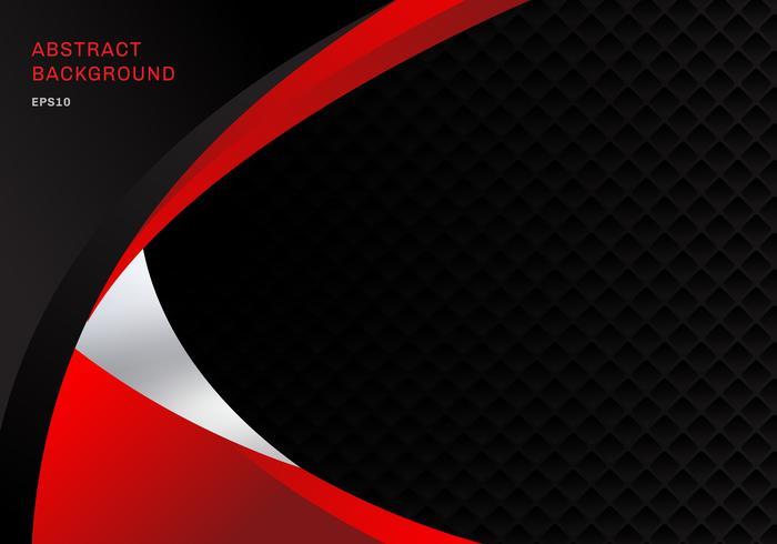 L'estratto corporativo rosso e nero astratto del modello curva il fondo con la struttura del modello dei quadrati e lo spazio della copia. È possibile utilizzare per brochure di copertina, poster, flyer, depliant, banner web, ecc. vettore