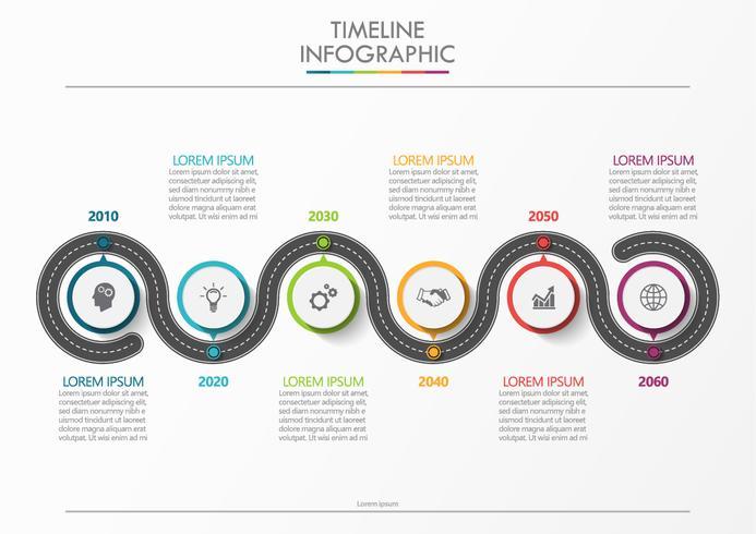 Mappa stradale aziendale. Icone infographic di cronologia progettate per modello astratto della priorità bassa vettore