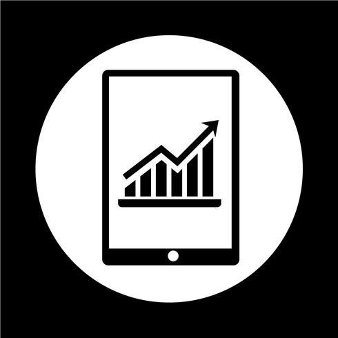 Grafico nell'icona di Tablet PC vettore
