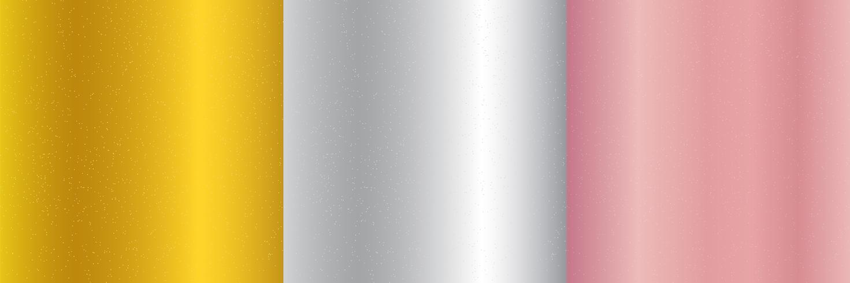Set di oro metallizzato, oro rosa, sfondo sfumato argento e texture glitter. Scintillio scintillante, stile di lusso festivo. vettore