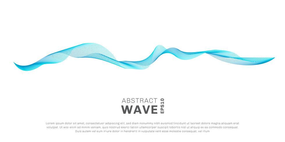 L'onda astratta allinea lo scorrimento di colore blu isolato su fondo bianco. È possibile utilizzare per elementi di design o separatore nel concetto di moderno, tecnologia, musica, scienza vettore