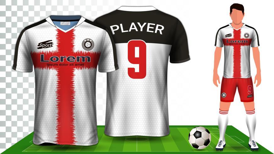 Modello di mockup di presentazione della maglia da calcio, della maglia sportiva o del kit da calcio. vettore