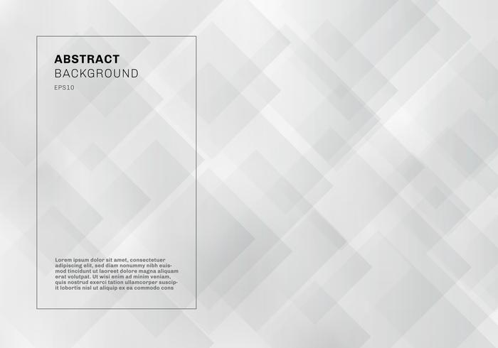 Quadrati geometrici eleganti astratti che si sovrappongono stile di tecnologia del fondo di colore bianco e grigio. vettore