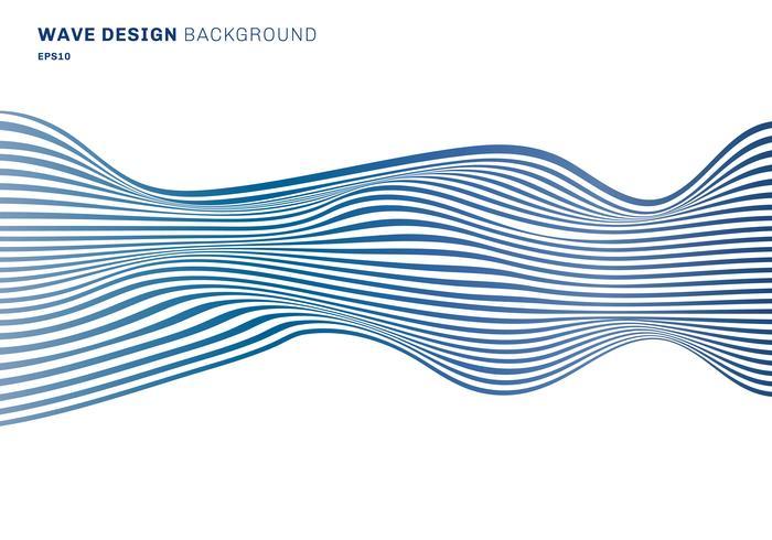 Linee orizzontali astratte linee orizzontali del modello blu di progettazione dell'onda su fondo bianco. trama di arte ottica vettore