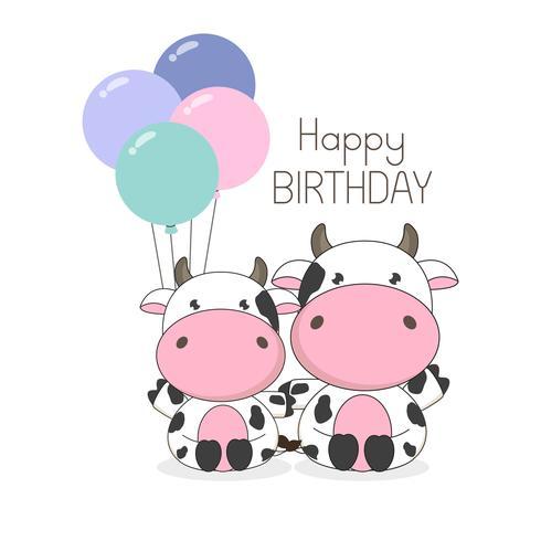 Biglietto di auguri di compleanno Cute mucche con palloncini vettore