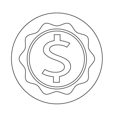 Icona del segno del dollaro vettore