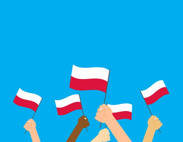 Illustrazione vettoriale mani che tengono le bandiere della Polonia su sfondo blu
