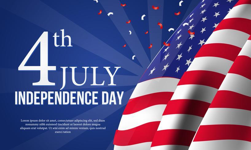 Modello di bandiera giorno dell'indipendenza americana vettore