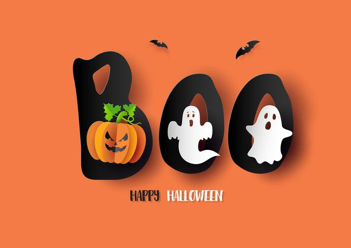 Carta d'arte di Happy Halloween vettore
