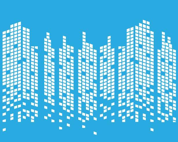 Skyline della città moderna. sagoma della città. illustrazione vettoriale in design piatto