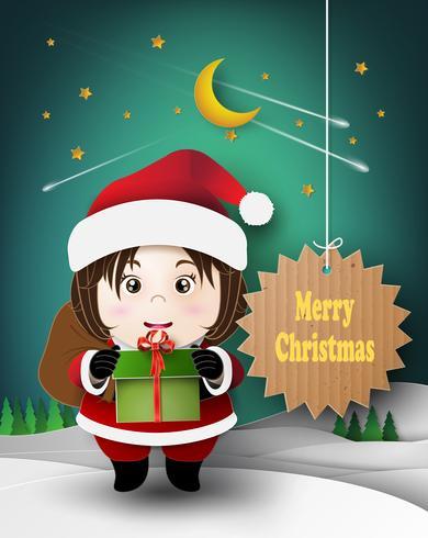 Bambino carino di Natale vettore