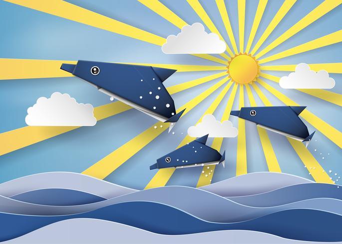 Origami fatto delfino e barca a vela Galleggiante sul mare con origami fatto delfino e barca a vela Galleggiante sul mare con raggio di sole vettore