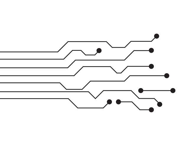 Vettore di simboli e di progettazione di progettazione dell'illustrazione del circuito
