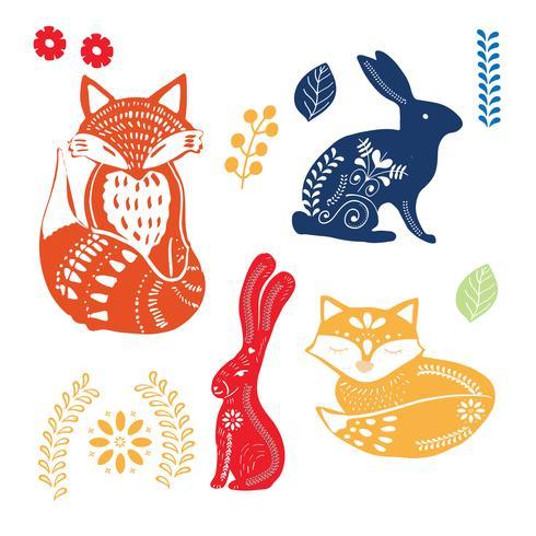 modello di arte popolare con coniglietti, volpi e fiori vettore