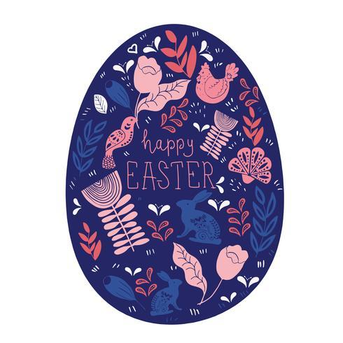 Modello di arte popolare dell'uovo scandinavo con uccelli e fiori vettore