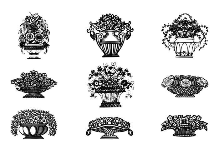 Vettori di fiori disegnati a mano in vasi