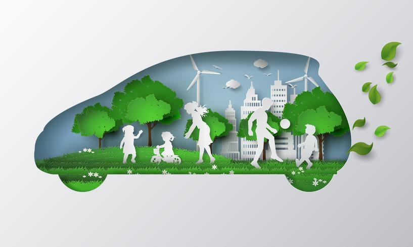 concetto di auto eco con lifttyle. vettore