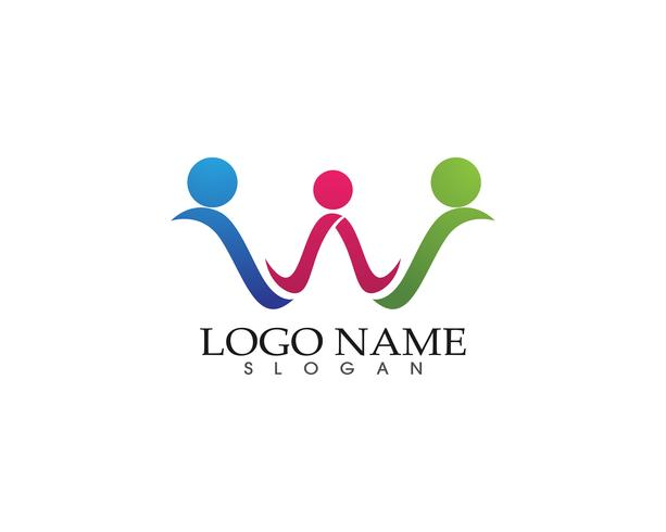modello di logo e simboli di amore di cura della famiglia vettore