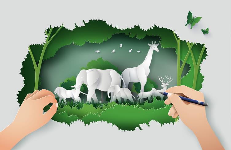 Concetto di World Wildlife Day vettore