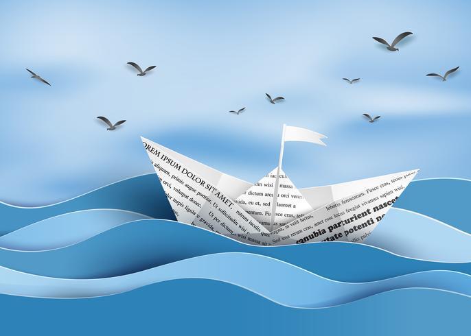 barca a vela di carta vettore