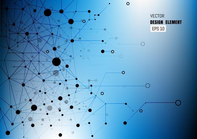 Sfondo astratto virtuale con particelle, struttura della molecola. vettore