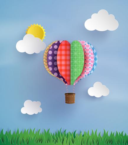 Origami fatto mongolfiera e cloud vettore