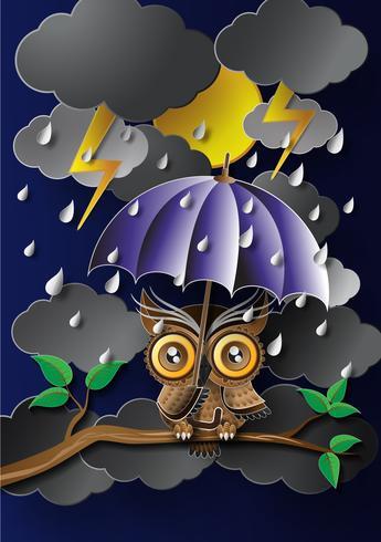 Gufo in possesso di un ombrello sotto la pioggia. vettore