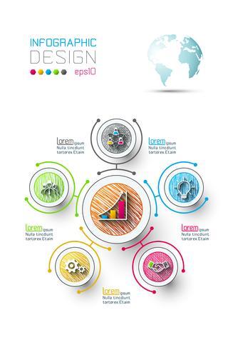 Infografica di affari con 6 passaggi. vettore