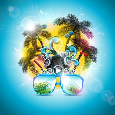 Summer Holiday Design con altoparlante e occhiali da sole su sfondo blu. Illustrazione vettoriale con palme tropicali e tramonto
