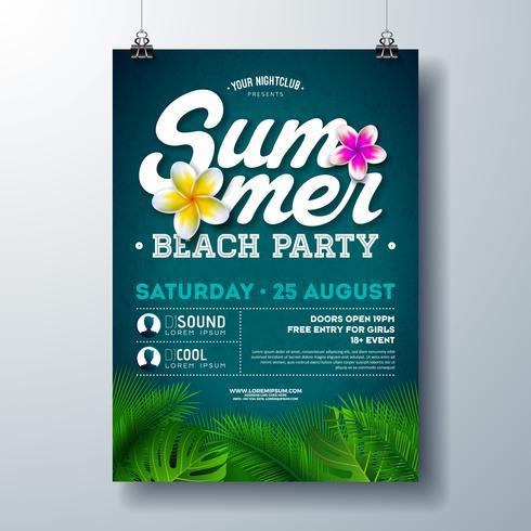 Vector la progettazione dell'aletta di filatoio del partito della spiaggia dell'estate con il fiore e le foglie di palma tropicali su fondo blu. Illustrazione di vacanze estive con piante esotiche