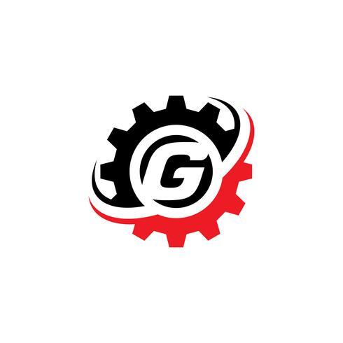 Modello di disegno di logo dell'ingranaggio della lettera G vettore