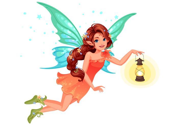 Bella fata carino tenendo una lanterna vettore