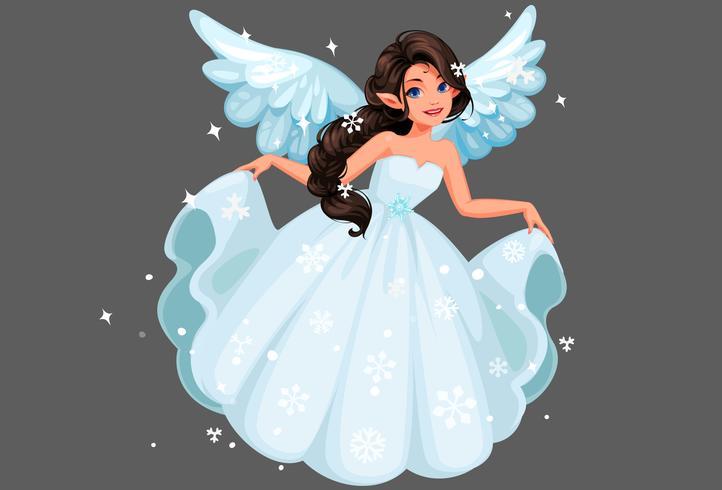 Bella carina fata della neve con una lunga acconciatura intrecciata che tiene il suo lungo abito nevoso vettore
