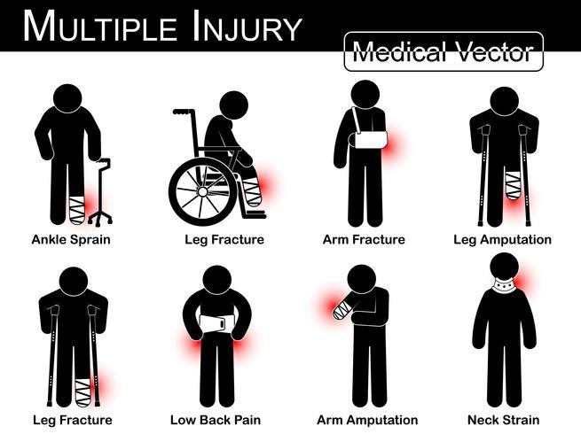 Set di lesioni multiple. Slogatura della caviglia, caviglia slogata . Frattura della gamba Frattura del braccio Amputazione delle gambe Frattura della gamba Lombalgia. Amputazione del braccio. Collo al collo. Vector Medico uomo bastone. concetto di terapi