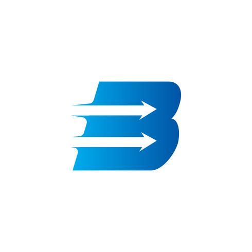 lettera B con modello di progettazione logo freccia vettore