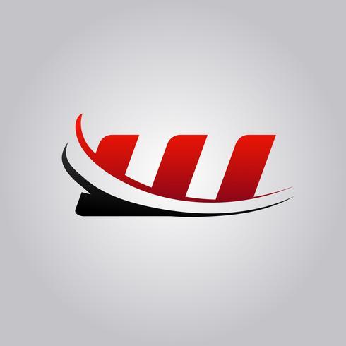 logo iniziale W Letter con swoosh colorato di rosso e nero vettore