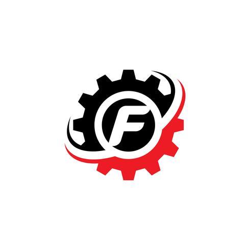 Modello di disegno di logo dell'ingranaggio della lettera F vettore