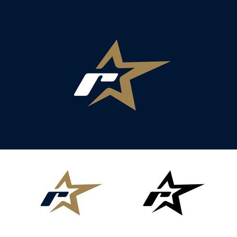 Modello di logo di lettera R con elemento di design stella. Illustrazione vettoriale