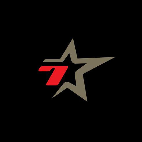 Modello di logo numero 7 con elemento di design stella. vettore
