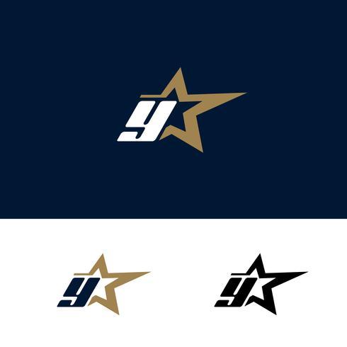 Modello di logo di lettera Y con elemento di design stella. Illustrazione vettoriale