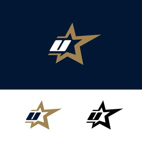 Modello di logo lettera U con elemento di design stella. Illustrazione vettoriale
