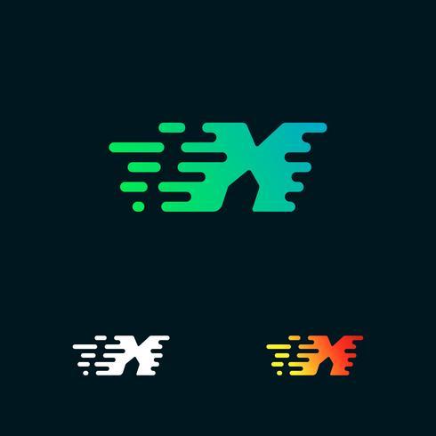 lettera X velocità moderna forme logo design vettoriale