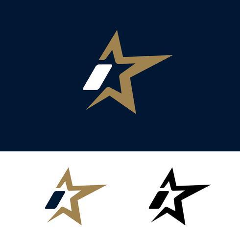 Modello di lettera I logo con elemento di design stella. Illustrazione vettoriale