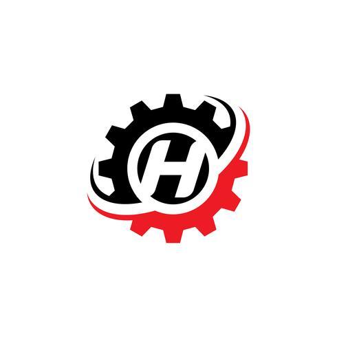 Modello di progettazione logo Gear lettera H vettore