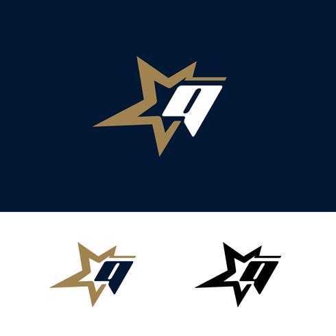 Modello di logo di lettera Q con elemento di design stella. Illustrazione vettoriale