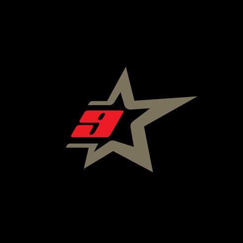 Modello di logo numero 9 con elemento di design stella. vettore