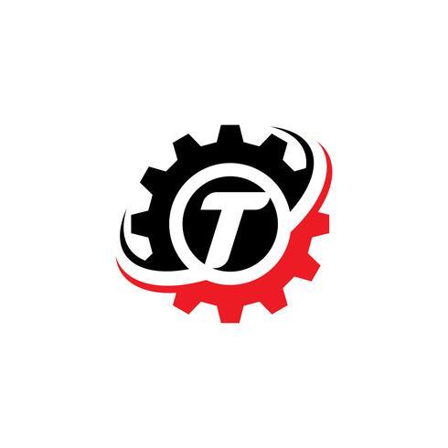 Modello di disegno di logo dell'ingranaggio della lettera T vettore