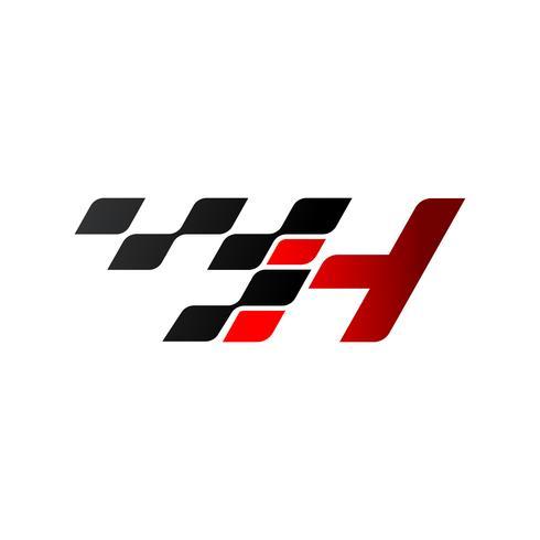 Lettera H con logo bandiera da corsa vettore