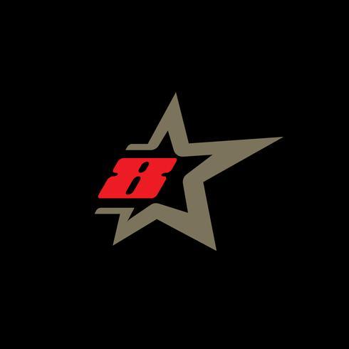 Modello di logo numero 8 con elemento di design stella. vettore