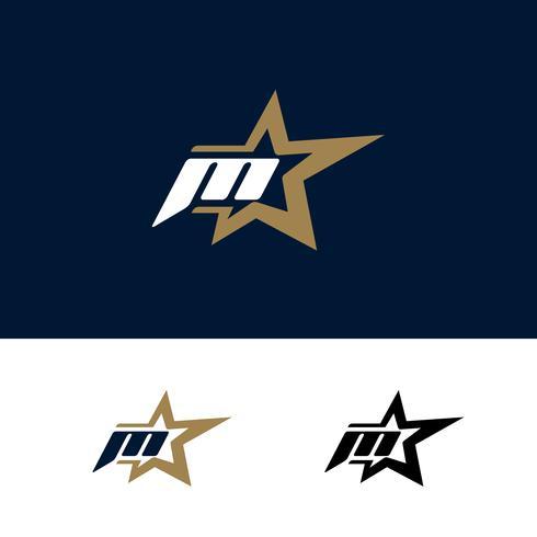 Modello di logo lettera M con elemento di design stella. Illustrazione vettoriale